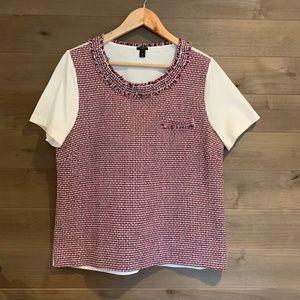 J CREW Tweed Woven Frayed Front Tee Top Shirt New!